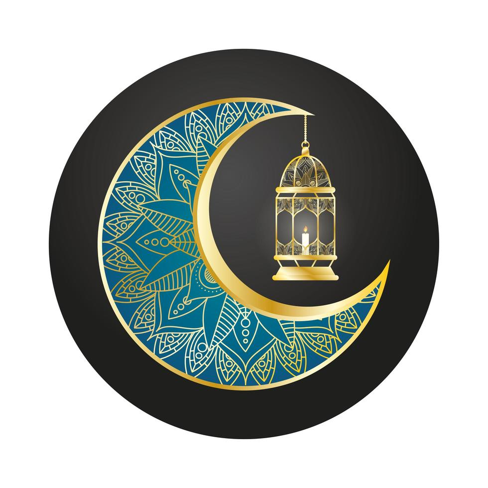 luna dorata e lanterna appese ramadan kareem vettore