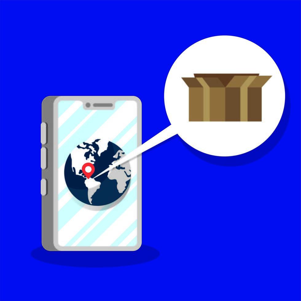 servizio di consegna scatola cartone in smartphone vettore