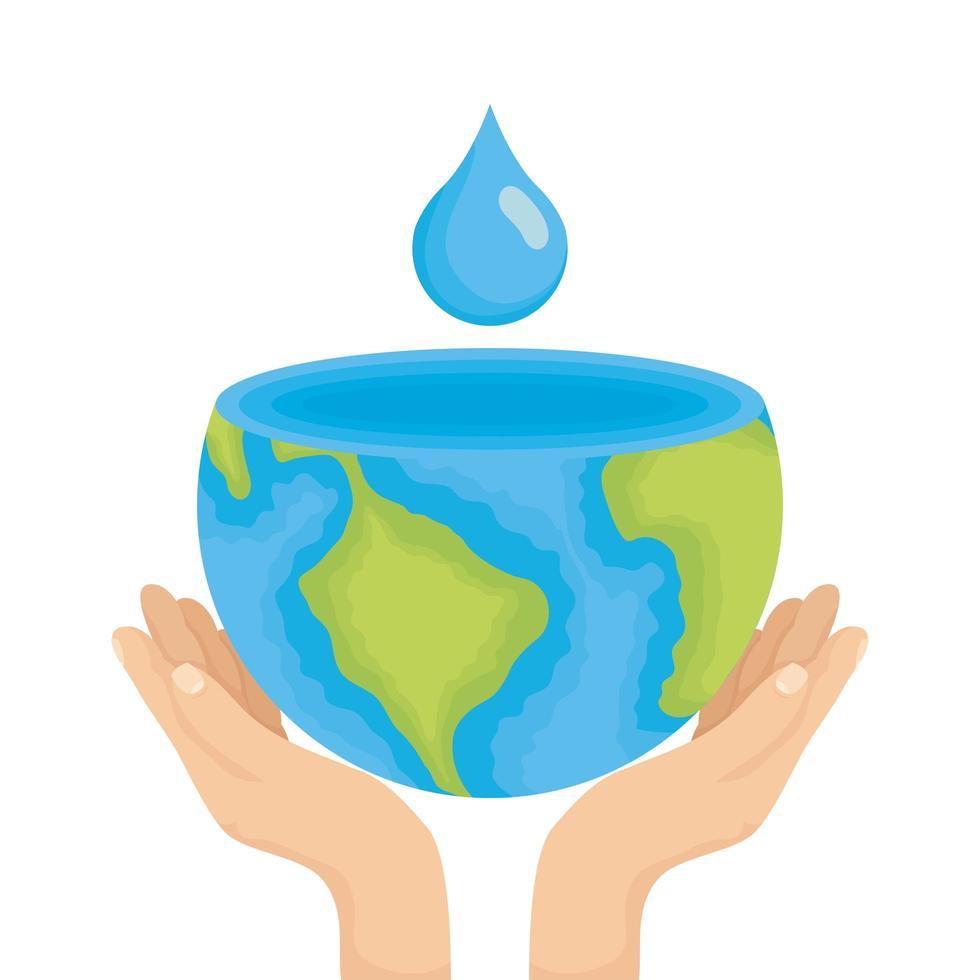 mani che sollevano il pianeta terra mondo con goccia d'acqua vettore