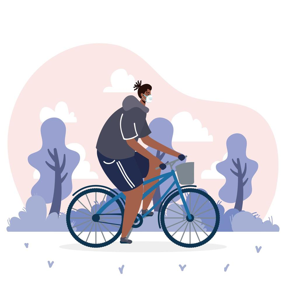 giovane africano che indossa la mascherina medica nel carattere della bicicletta vettore