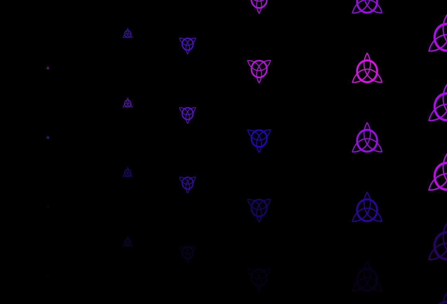 sfondo vettoriale viola scuro con simboli occulti.