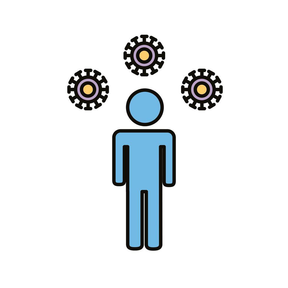 figura umana con particelle covid19 vettore