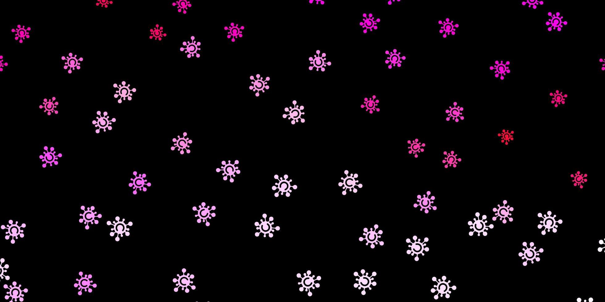 sfondo vettoriale rosa scuro con simboli covid-19