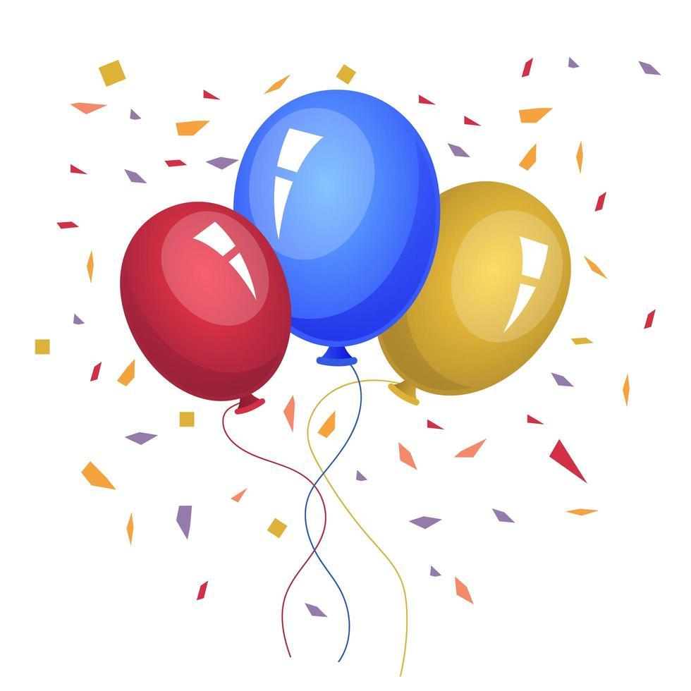palloncini colorati disegno vettoriale illustrazione isolato su sfondo bianco