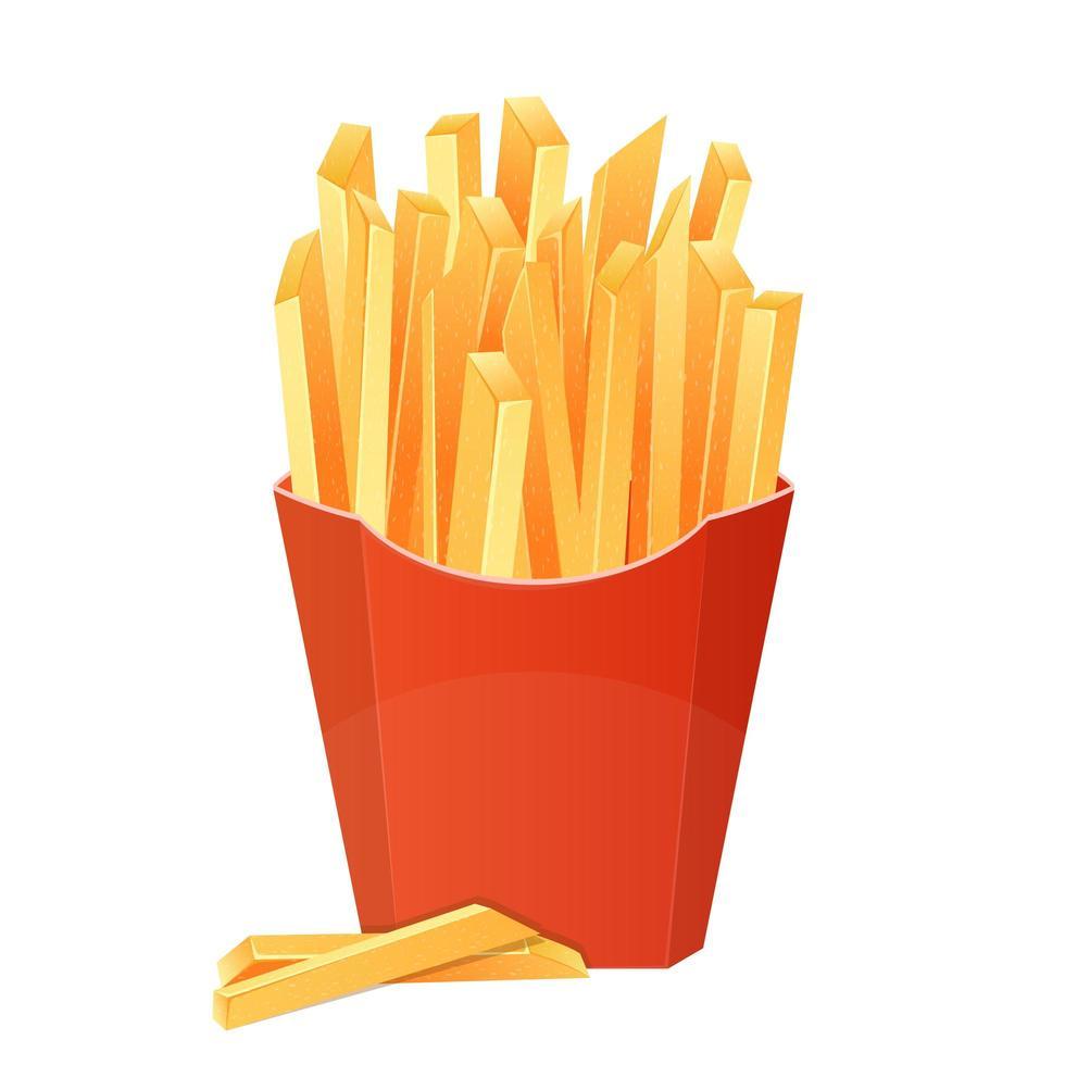 illustrazione di disegno vettoriale di patatine fritte isolato su priorità bassa bianca