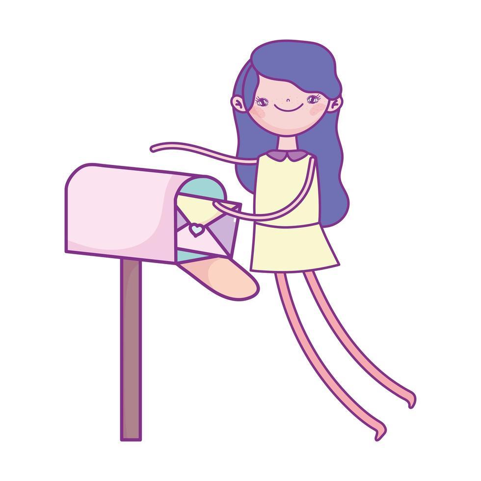 felice giorno di San Valentino, ragazza con la busta nella cassetta postale cuori amore vettore