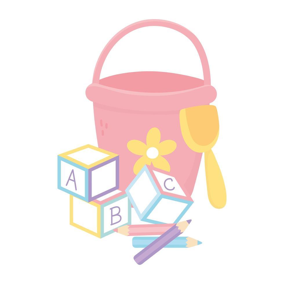 zona bambini, blocchi alfabeto pala secchio e giocattoli matite vettore