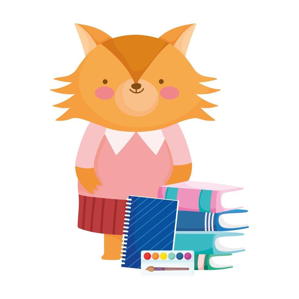 torna a scuola, cartone animato di colore tavolozza blocco note libri volpe vettore