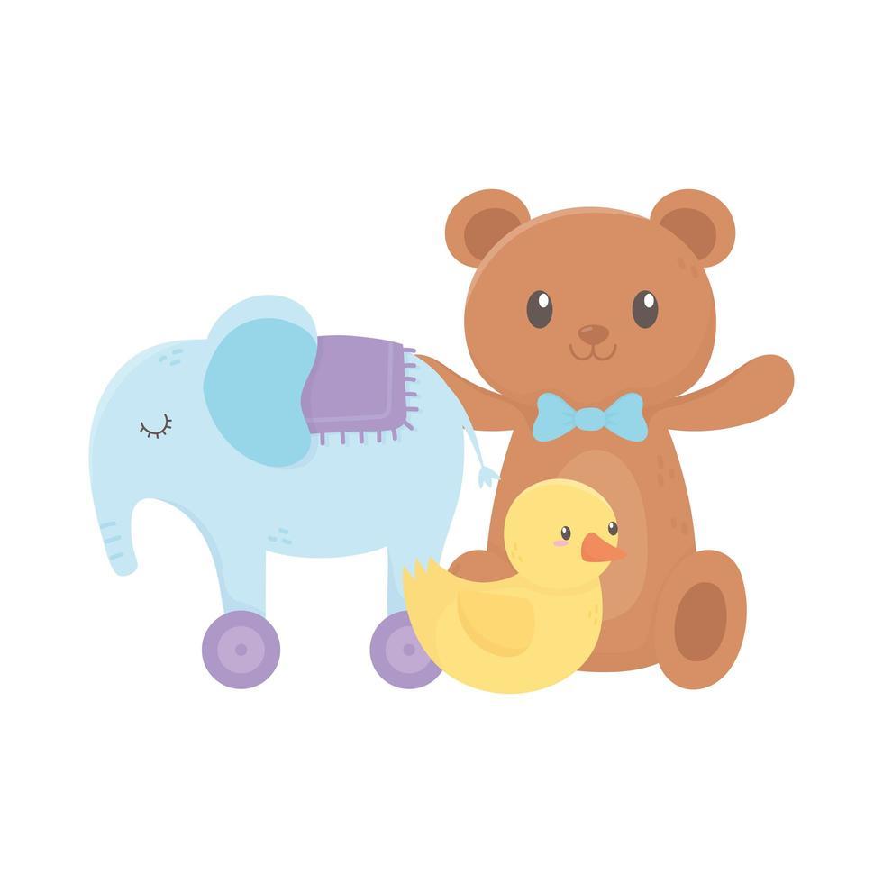 zona bambini, anatra orsacchiotto e giocattoli elefante vettore