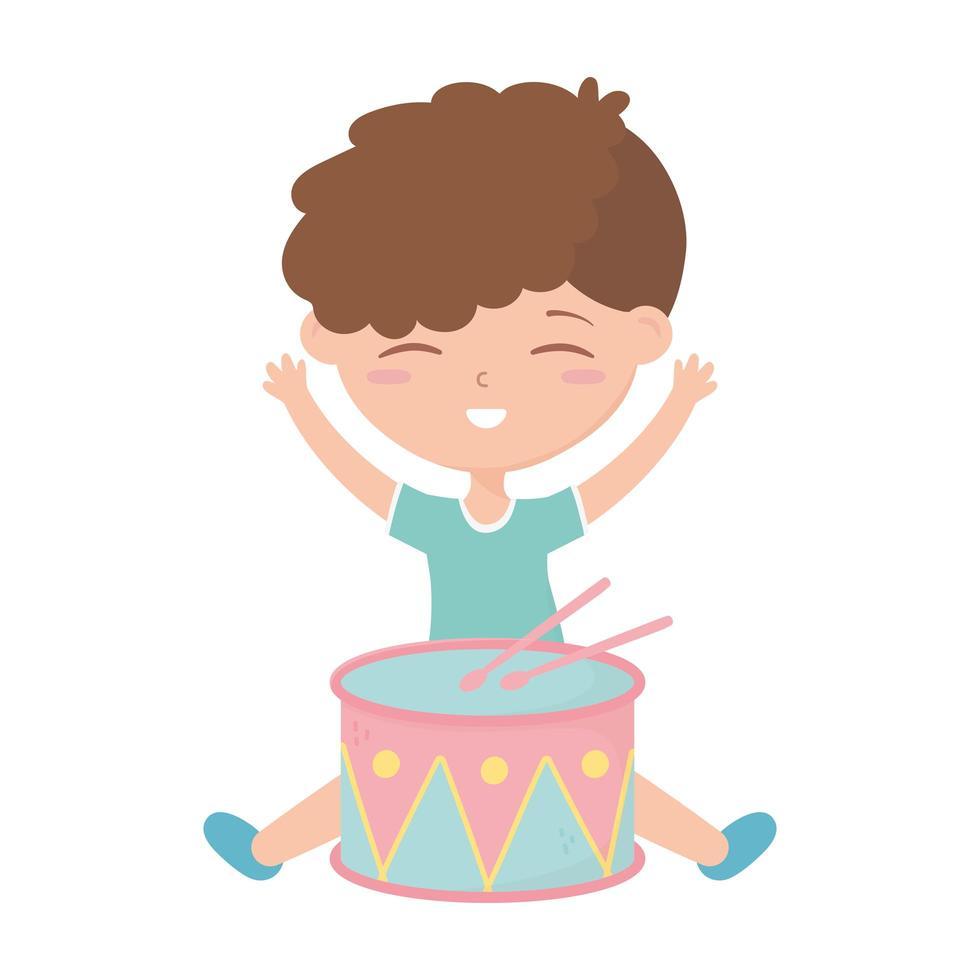 zona bambini, ragazzino carino con giocattoli di strumenti a tamburo vettore
