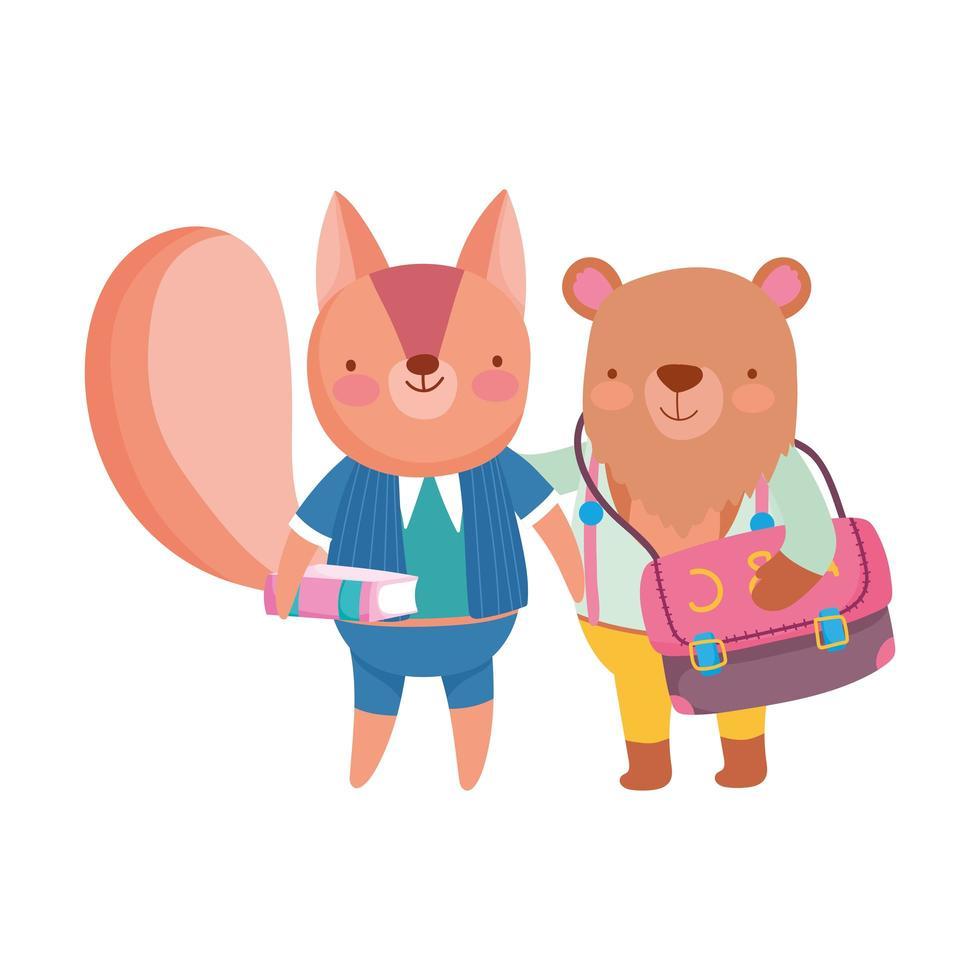 torna a scuola, orso con zaino scoiattolo con libro studente cartone animato vettore