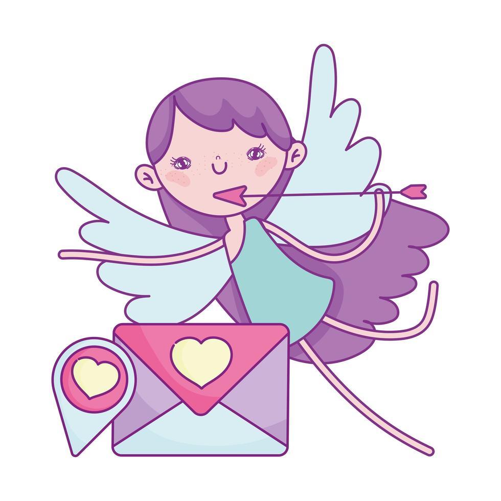 buon san valentino, cupido con freccia lettera d'amore vettore