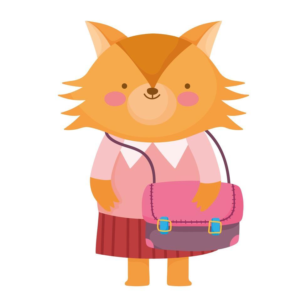 torna a scuola, volpe con vestiti e zaino dei cartoni animati vettore