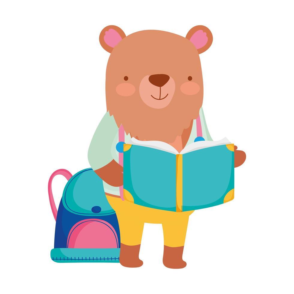 torna a scuola, orso con il fumetto dello zaino del libro vettore