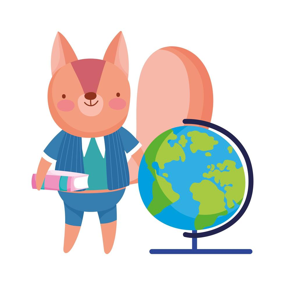 torna a scuola, scoiattolo con libro globo mappa dei cartoni animati vettore