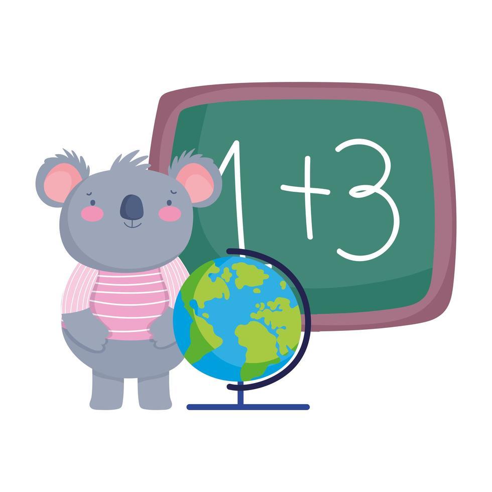 torna a scuola, carino koala con cartone animato mappa del globo lavagna vettore