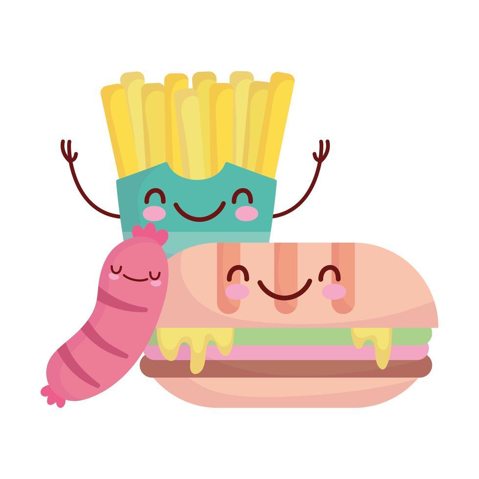 panino salsiccia e patatine fritte personaggio menu cartone animato cibo carino vettore