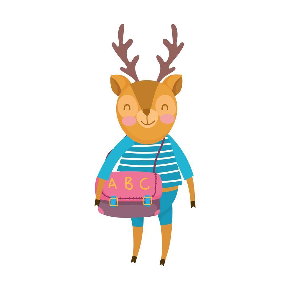 torna a scuola, cervo con vestiti e borsa dei cartoni animati vettore
