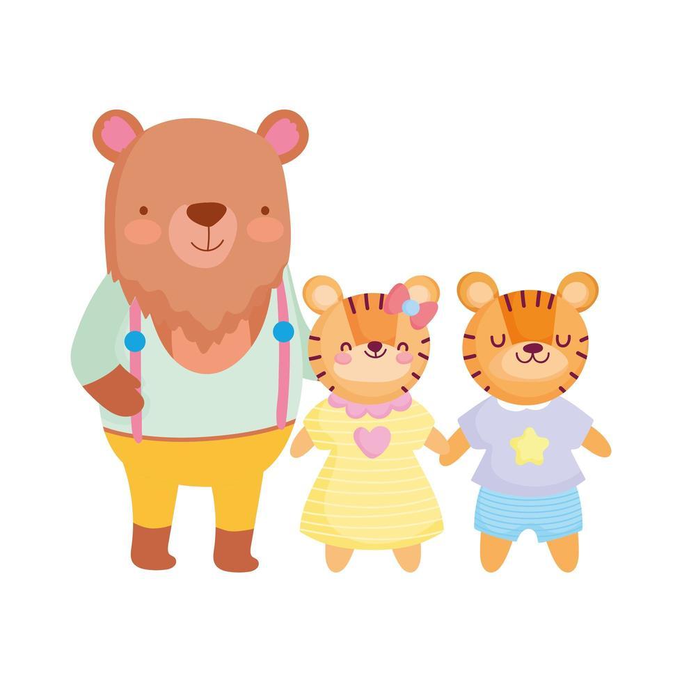 torna a scuola, orso e tigre cartone animato per bambini con i vestiti vettore