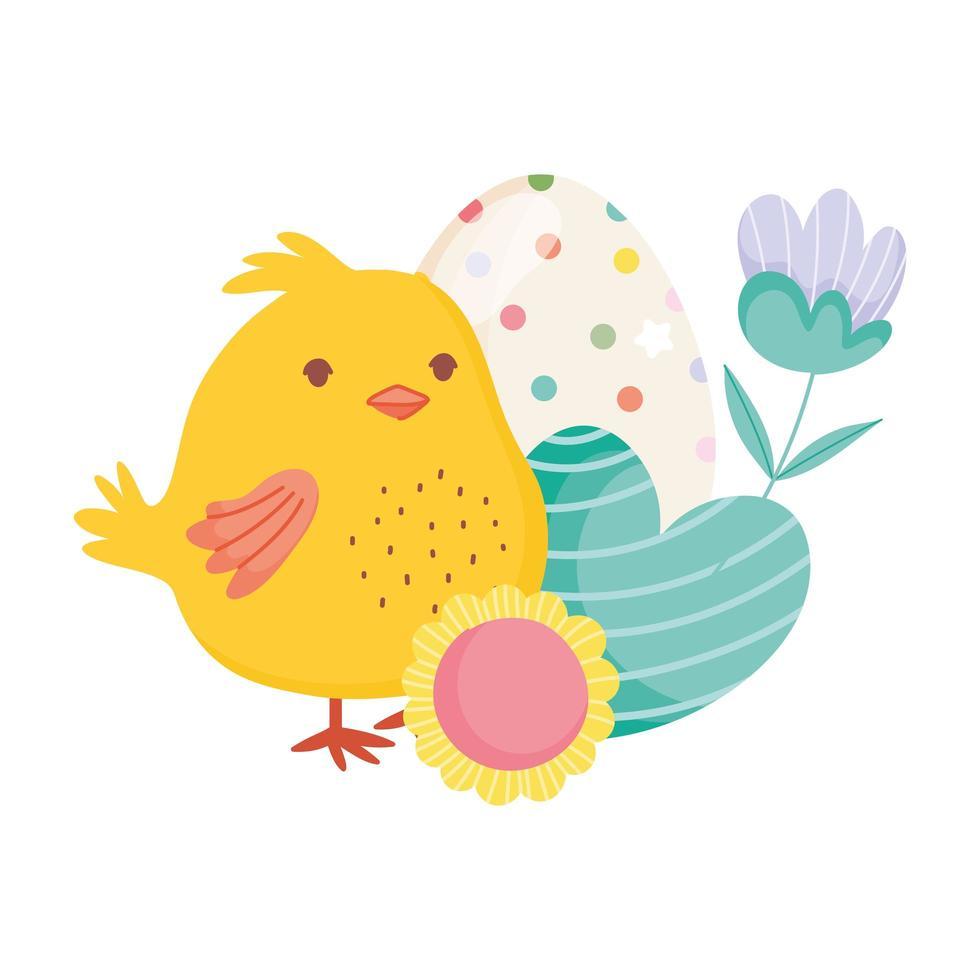 buona pasqua simpatico cuore di pollo uovo fiori decorazione carta vettore