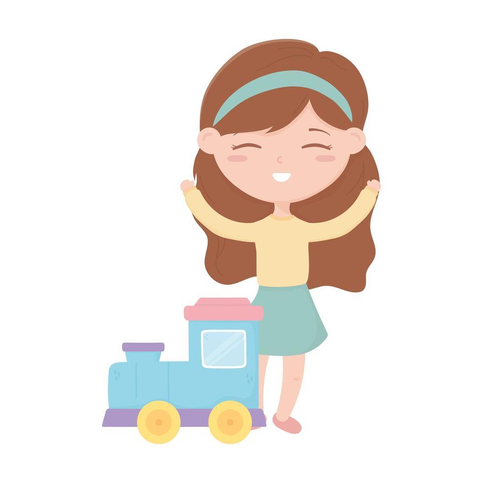 zona bambini, bambina carina con i giocattoli treno dei cartoni animati vettore