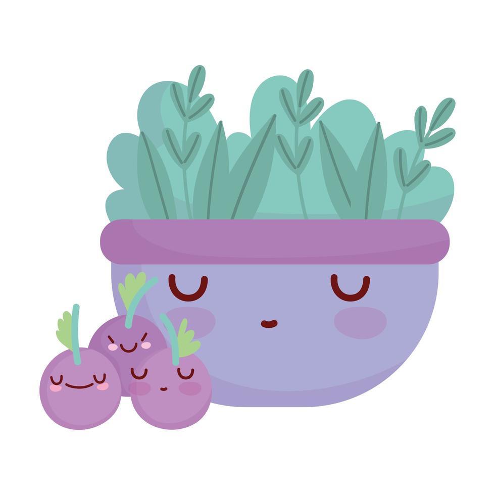 ciotola con insalata mirtilli frutta menu personaggio cartone animato cibo carino vettore