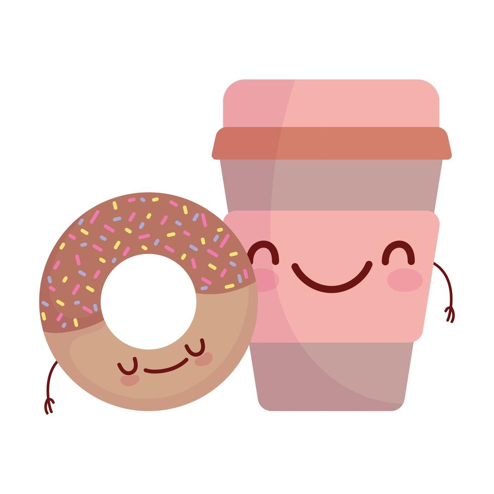 ciambella e tazza di caffè menu personaggio cartone animato cibo carino vettore