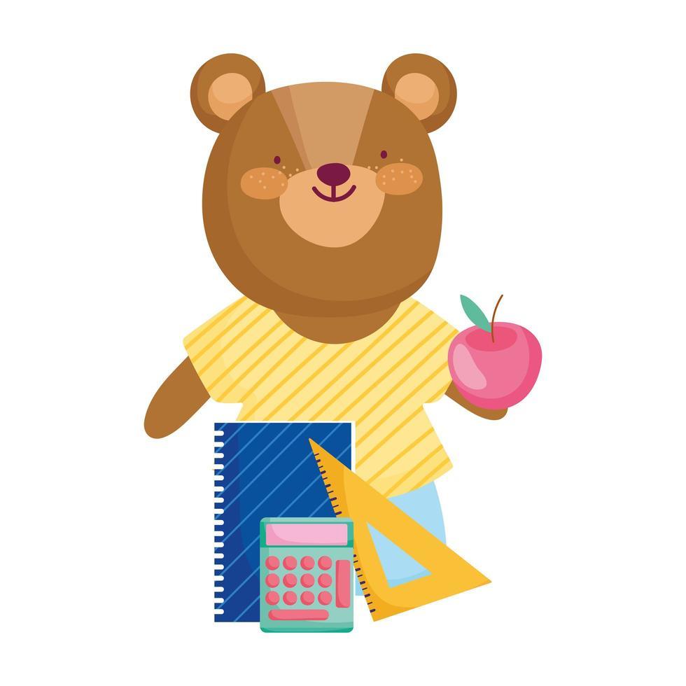 torna a scuola, simpatico orso con righello calcolatrice e blocco note vettore