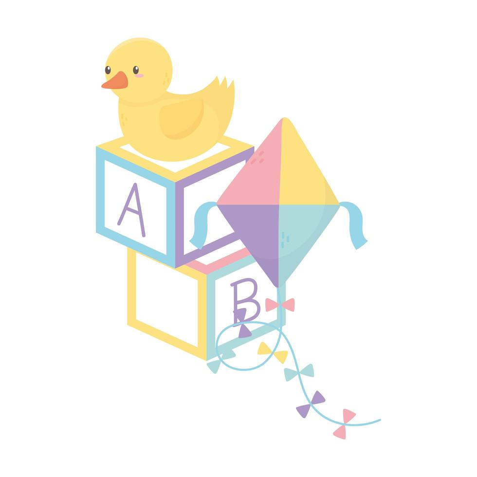 zona bambini, alfabeto blocchi anatra aquilone giocattoli cartone animato vettore