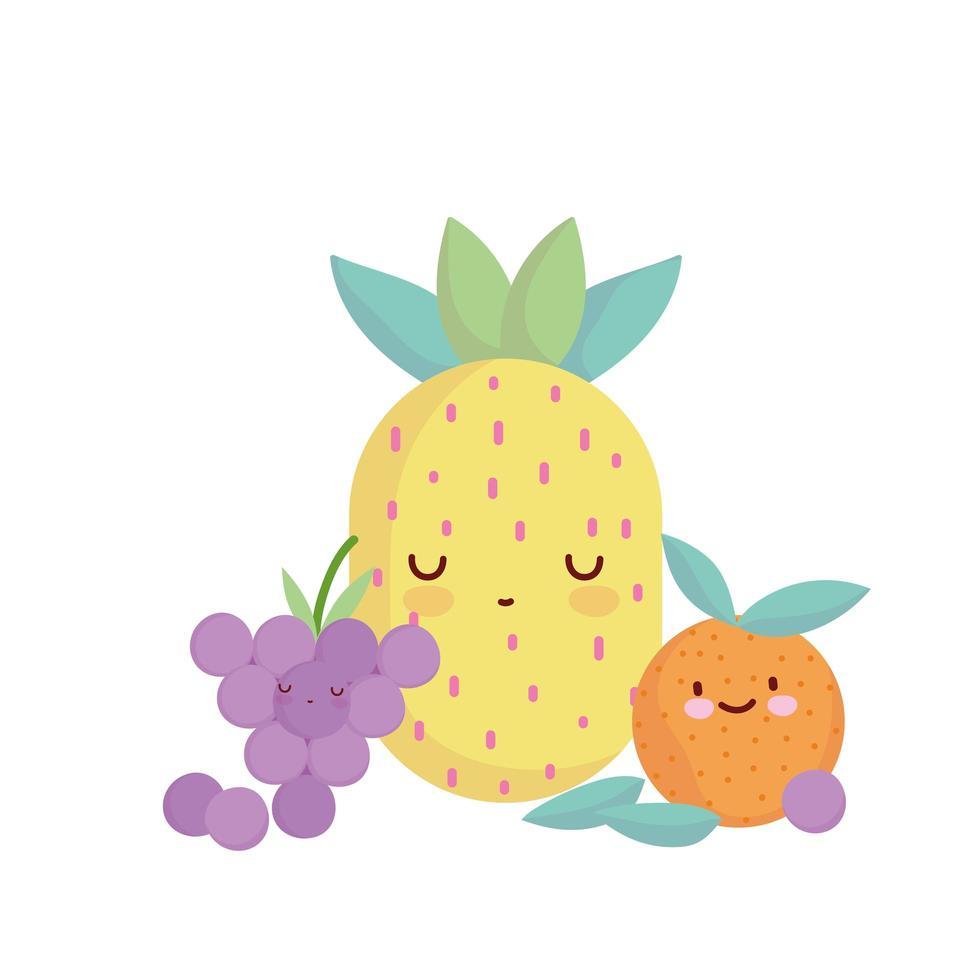 ananas arancia e uva menu personaggio cartone animato cibo carino vettore