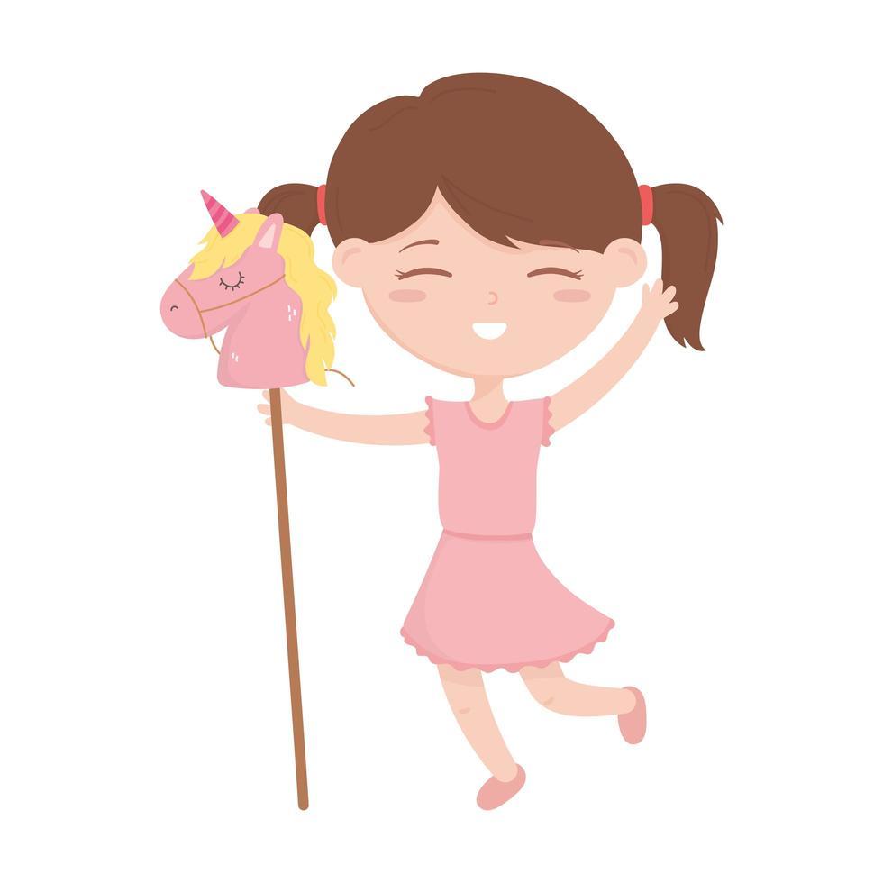 zona bambini, bambina carina con cavallo in giocattoli di cartone animato bastone vettore