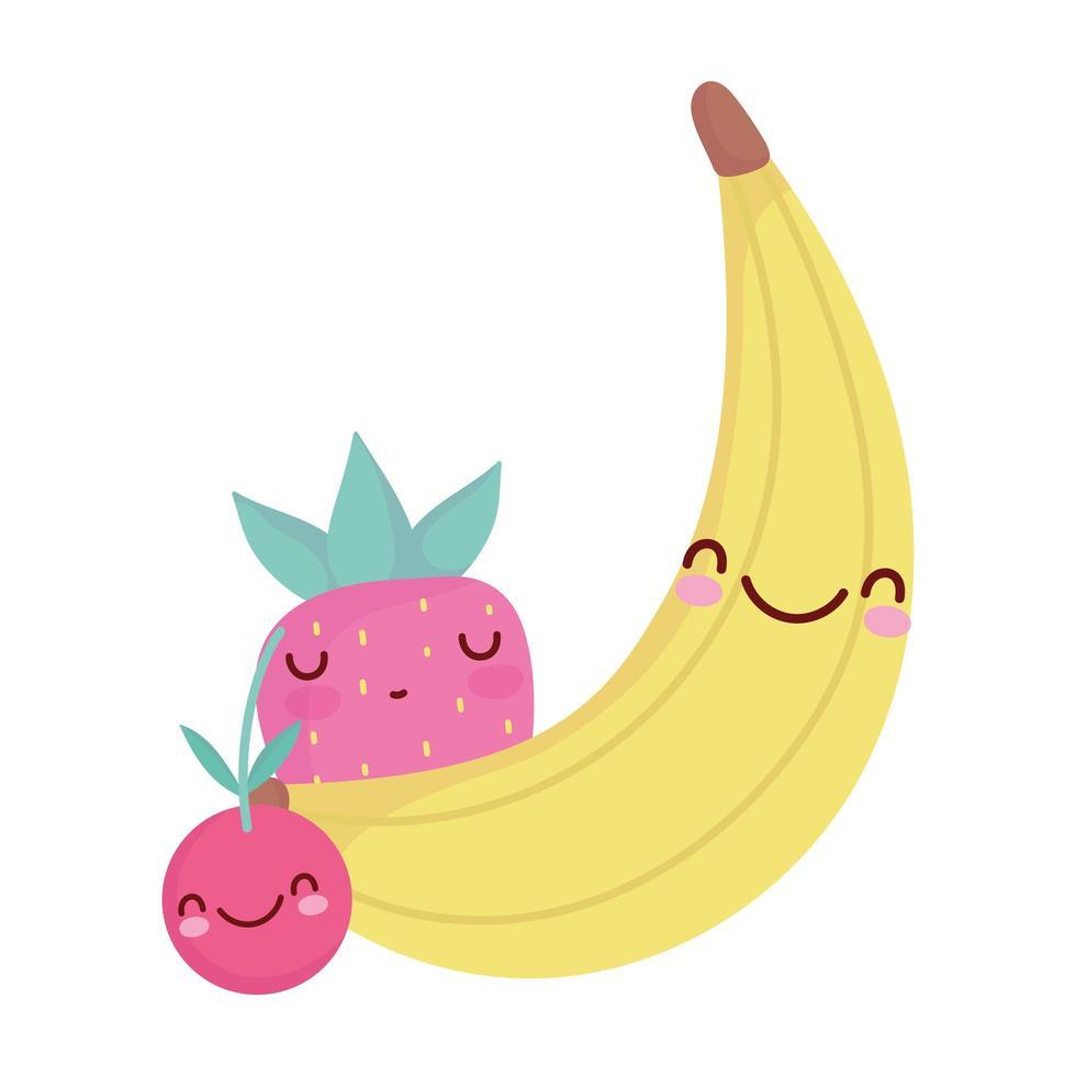 banana, ciliegia e fragola, menu, carattere, cartone animato, cibo, carino vettore