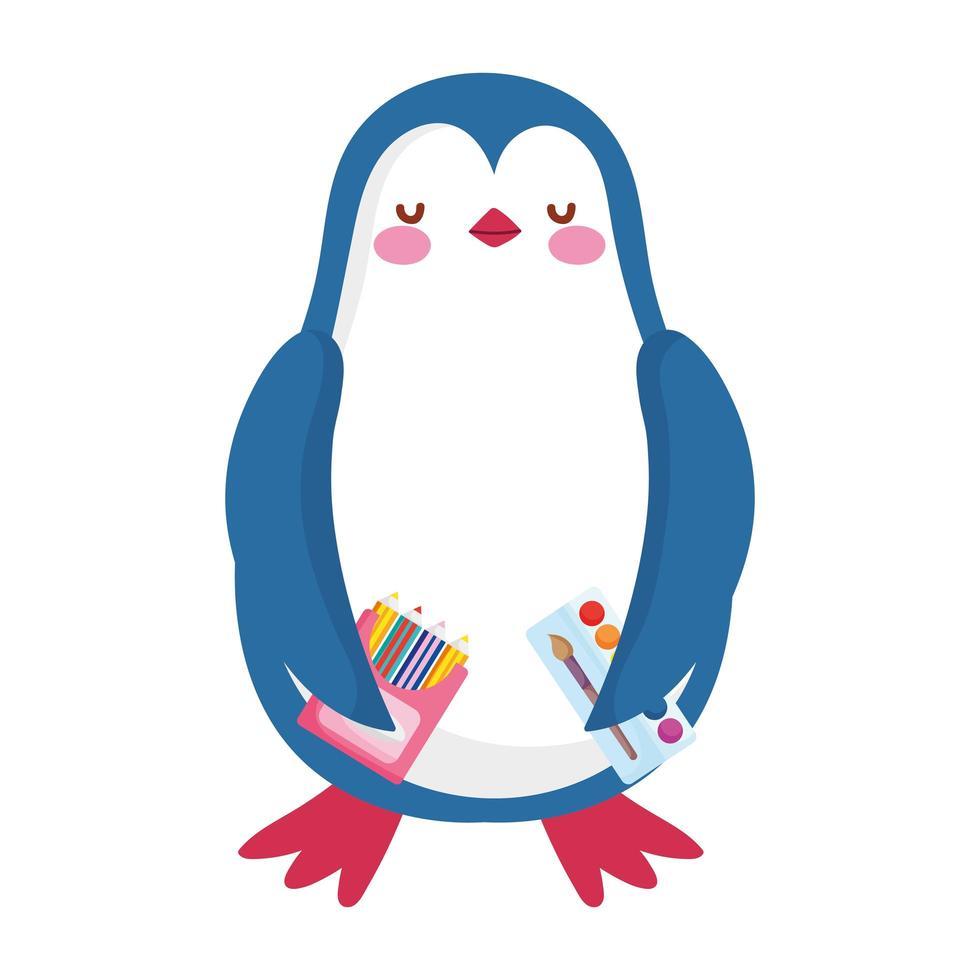 torna a scuola, cartone animato della tavolozza dell'acquerello di colore delle matite del pinguino vettore