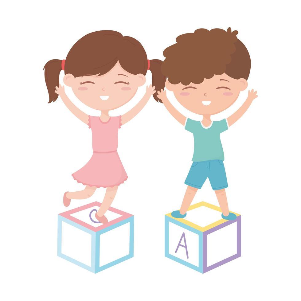 zona bambini, bambina carina e ragazzo che giocano con i giocattoli dei blocchi alfabeto vettore