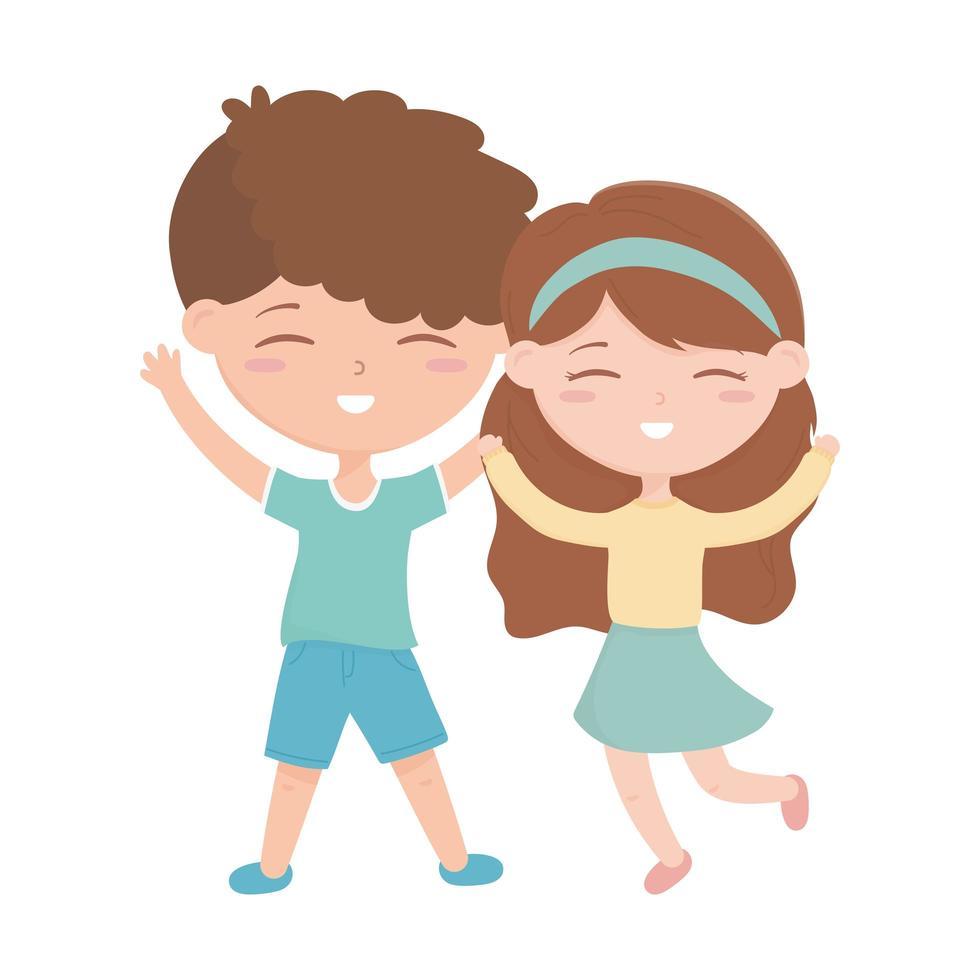 zona bambini, ragazzino e ragazza felice che celebra cartone animato vettore