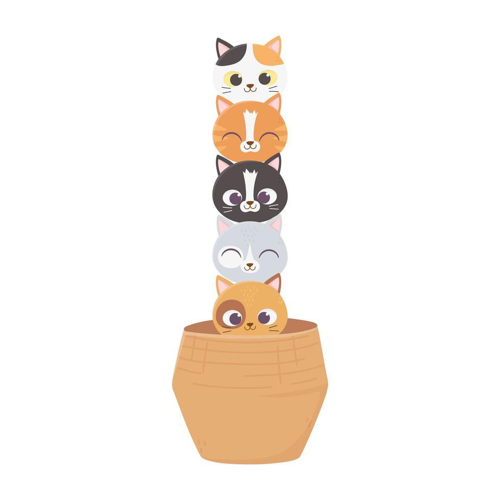i gatti mi rendono felice, simpatici gatti animali domestici animali nel cestino vettore