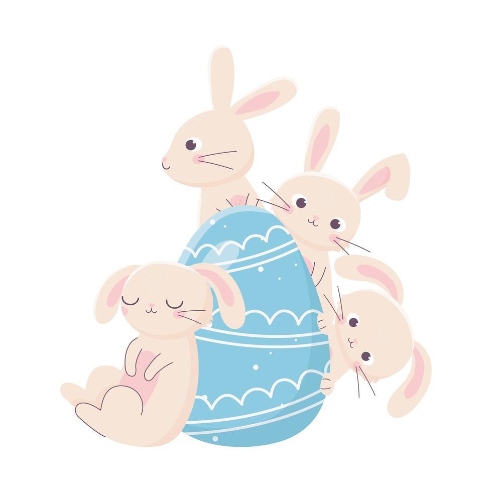 felice giorno di pasqua, simpatici conigli con decorazione a uovo blu vettore