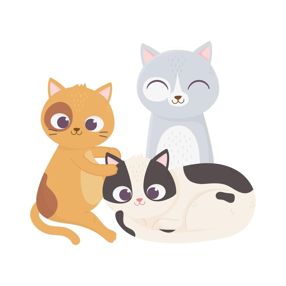 i gatti mi rendono felice, diversi gatti animali domestici dei cartoni animati vettore