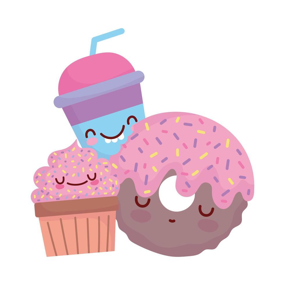 ciambella cupcake e cup menu personaggio cartone animato cibo carino vettore