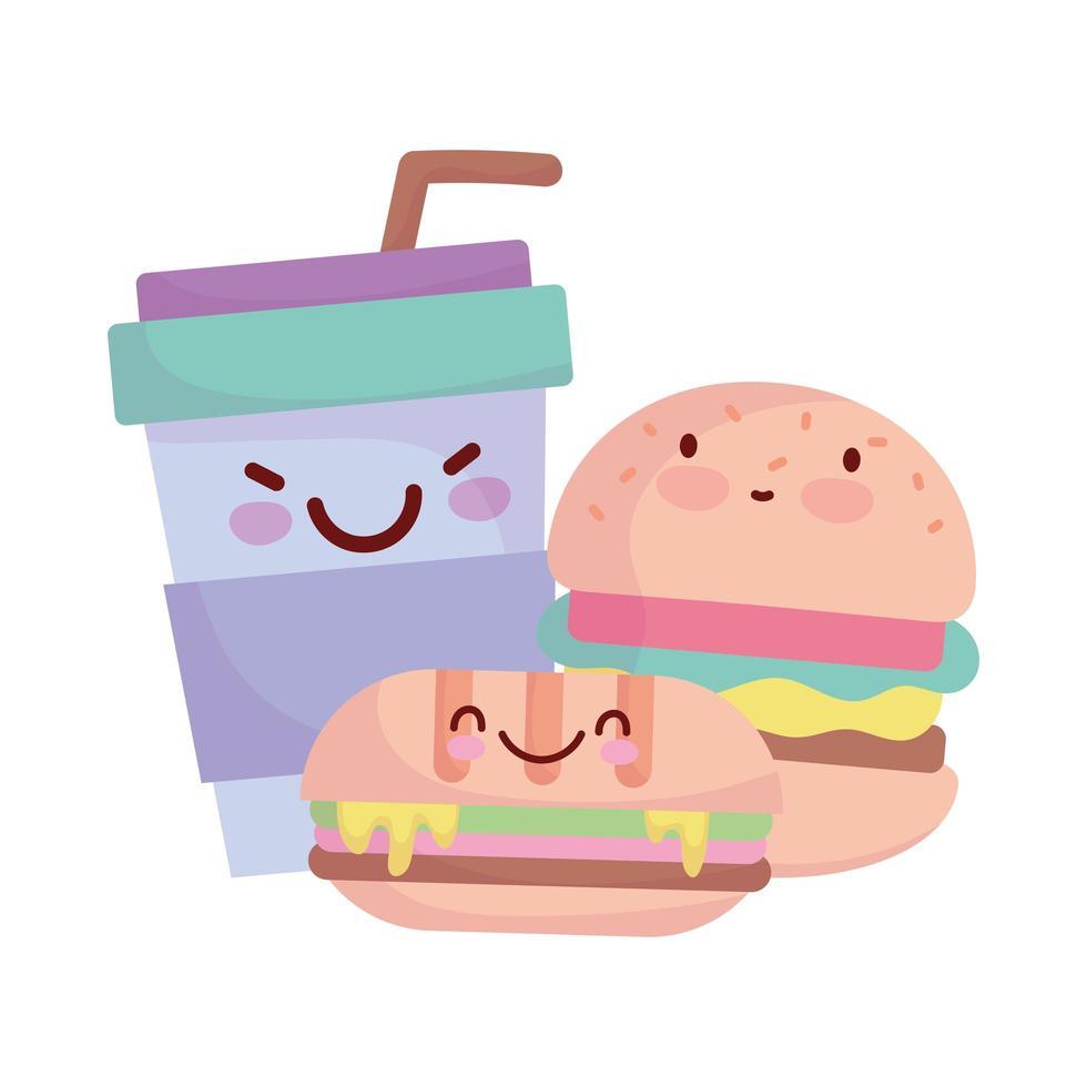 panino con hamburger e tazza da asporto menu personaggio cartone animato cibo carino vettore
