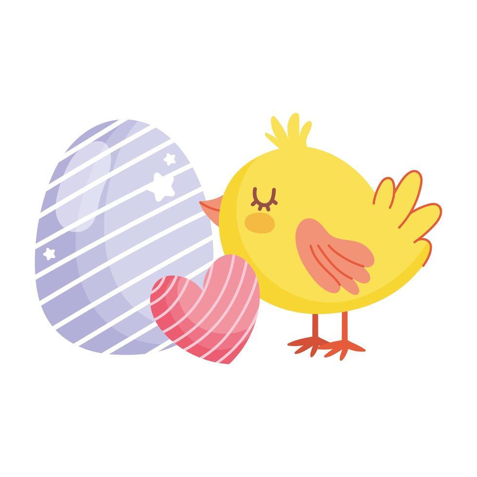 buona pasqua simpatico pollo con decorazione cuore e uovo vettore