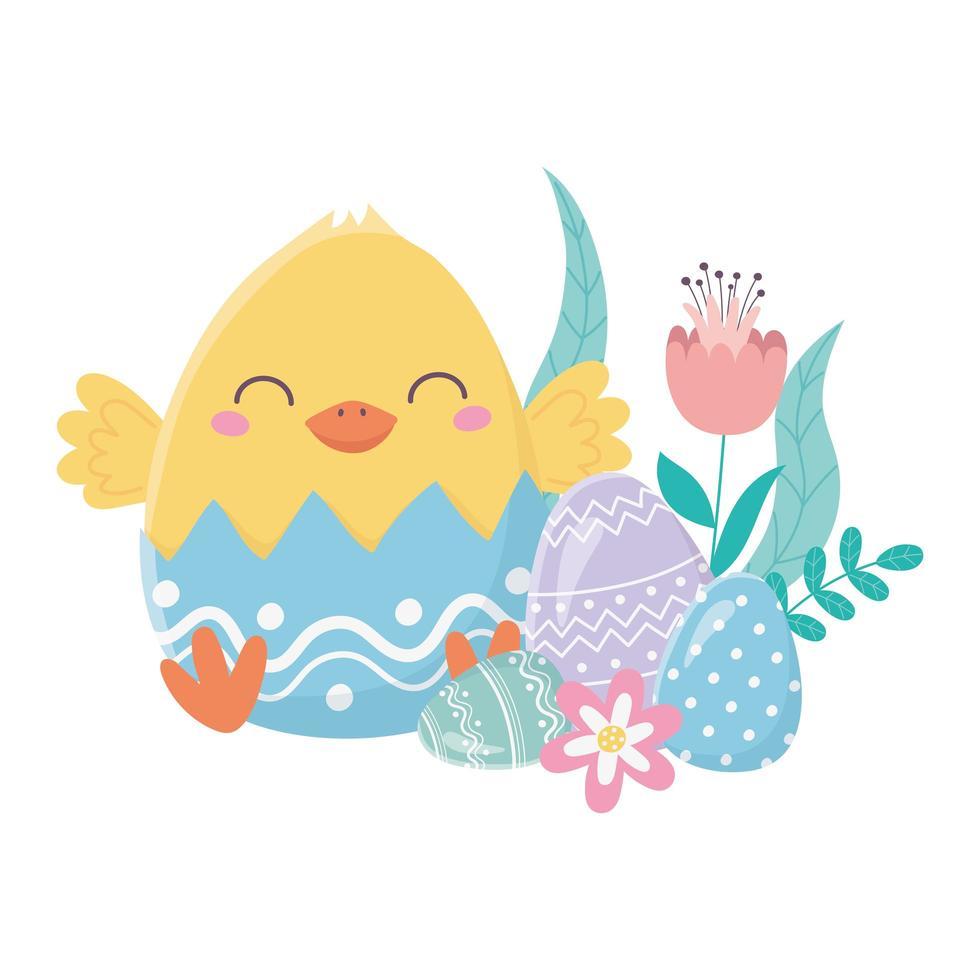 felice giorno di pasqua, guscio d'uovo di gallina con uova di fiori vettore