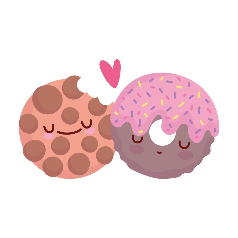 ciambella e biscotti morsi menu personaggio cartone animato cibo carino vettore