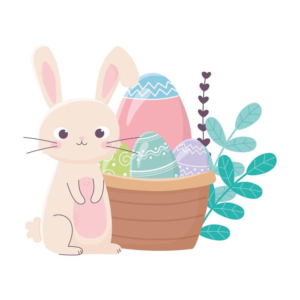 felice giorno di pasqua, uova di coniglio fiori foglie cesto vettore