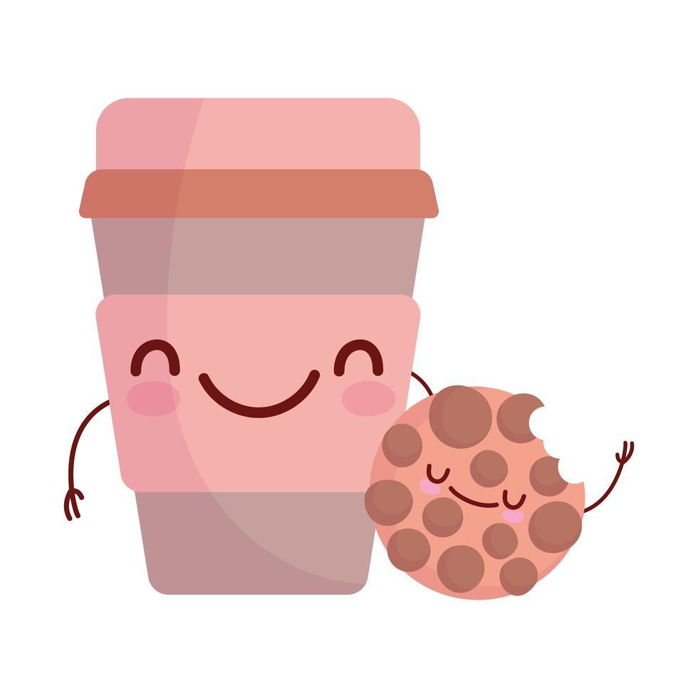 biscotto e tazza di carta caffè menu personaggio cartone animato cibo carino vettore
