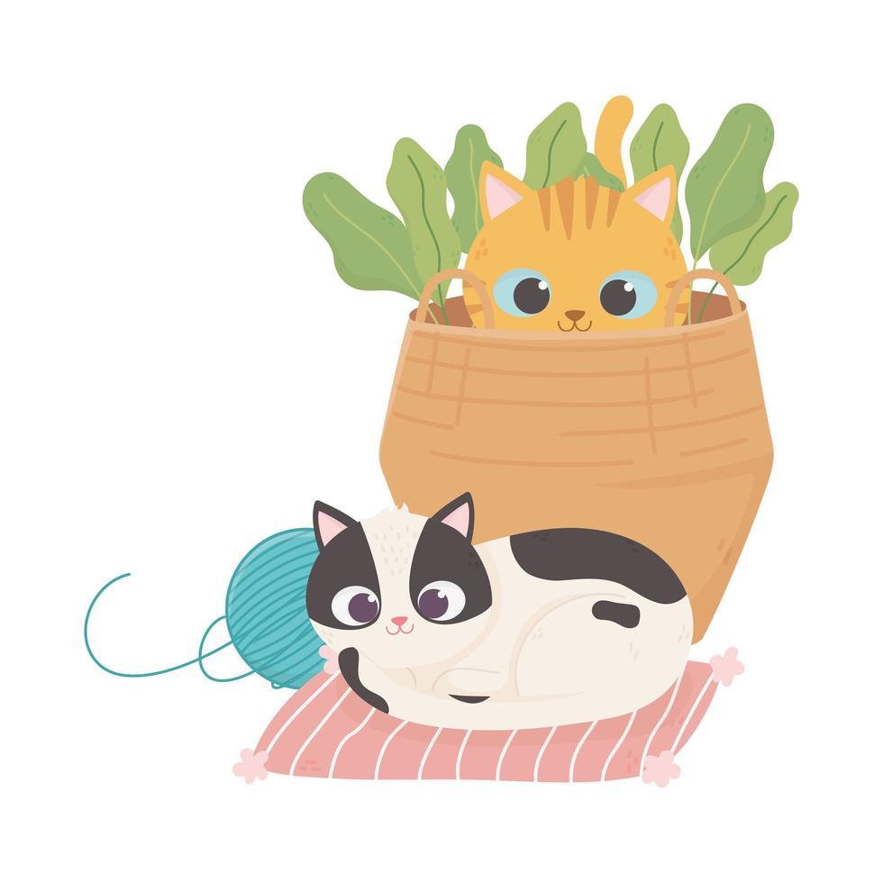 i gatti mi rendono felice, gatto maculato con gomitolo di lana e gattino nel cestino vettore