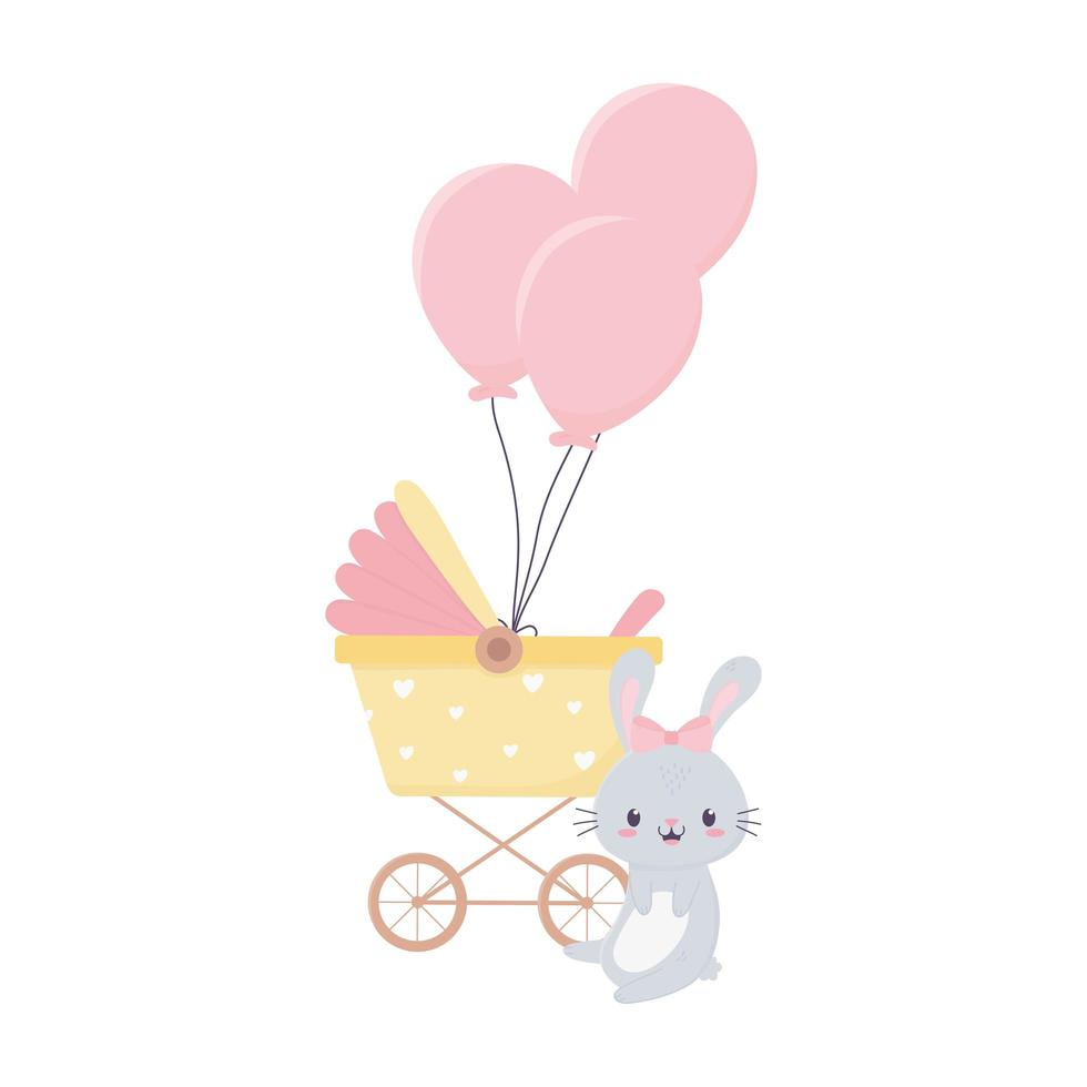 decorazione palloncini baby shower coniglio e carrozzina vettore