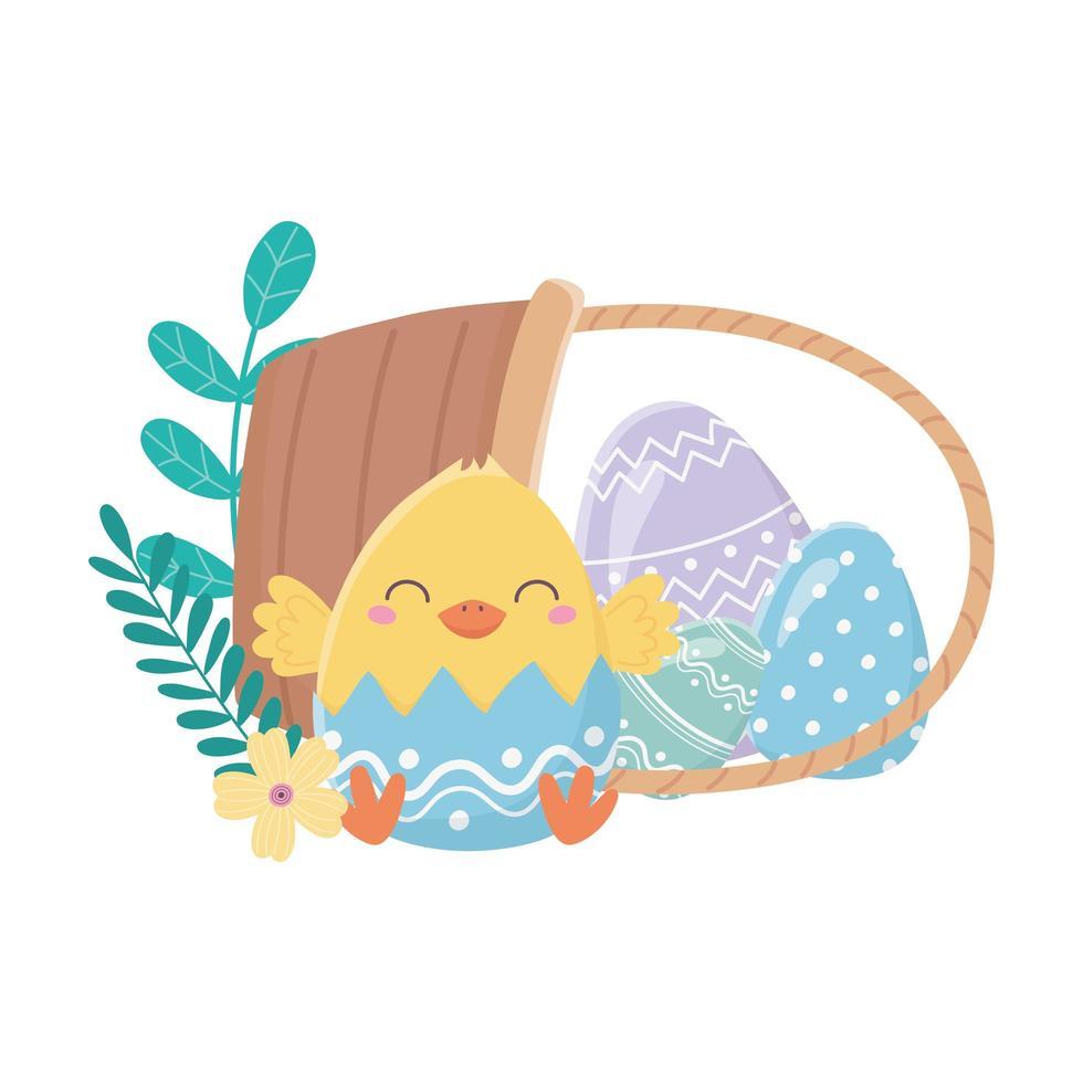felice giorno di pasqua, pollo guscio d'uovo fiori uova nel carrello vettore