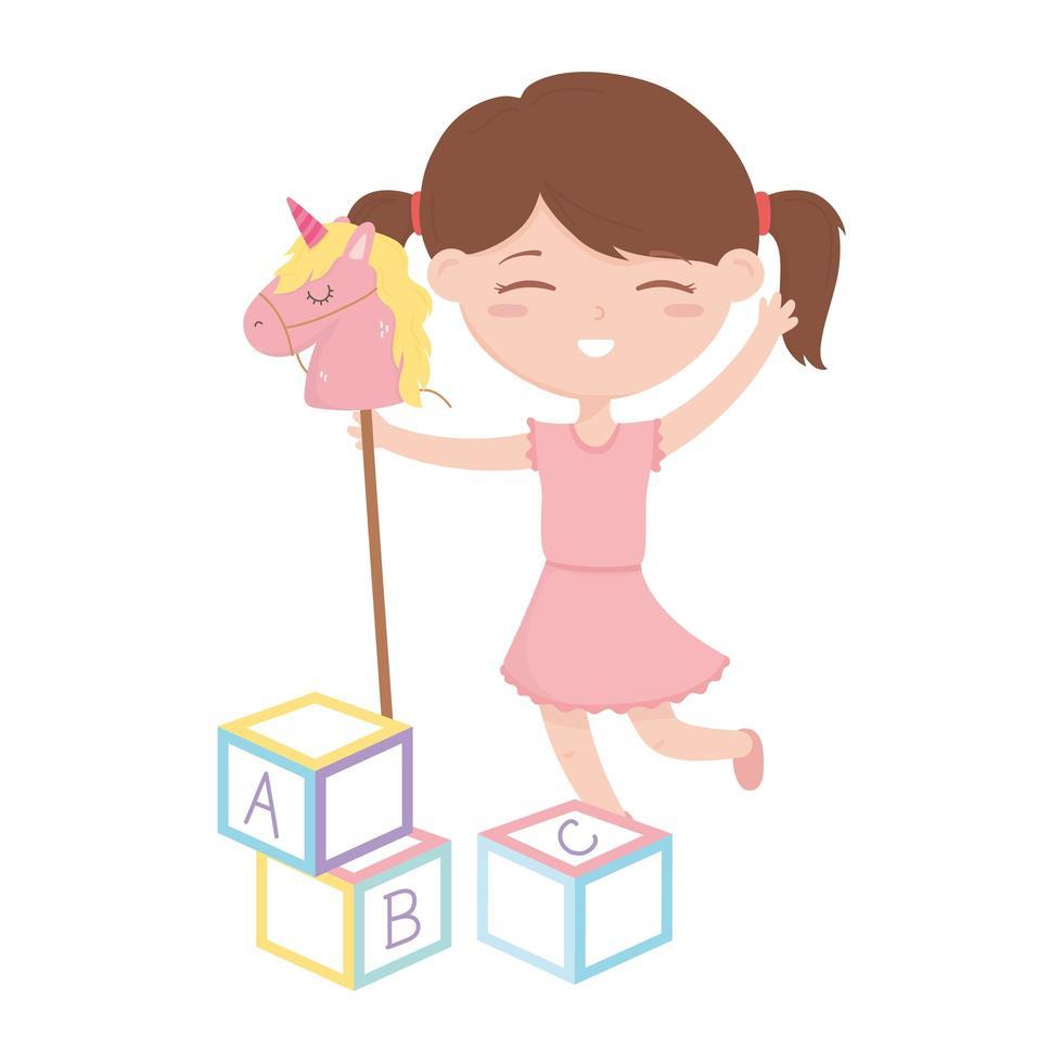 zona bambini, bambina carina con cavallo e giocattoli abc vettore