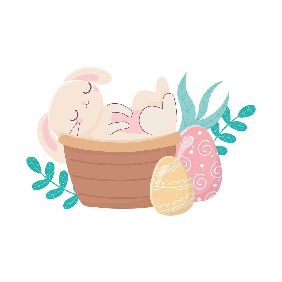 felice giorno di pasqua, coniglio nel cestino uova natura vettore